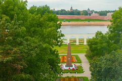 Yaroslav`s courtyard and the monument to heroes of Great Patriotic War in Veliky Novgorod, Russia -view from height. VELIKY NOVGOROD, RUSSIA - AUGUST 28, 2016 Stock Image
