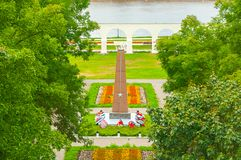 Yaroslav`s courtyard and the monument to heroes of Great Patriotic War in Veliky Novgorod, Russia -view from height. VELIKY NOVGOROD, RUSSIA - AUGUST 28, 2016 Royalty Free Stock Photography