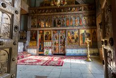 Interior of the Russian orthodox St. Sophia Cathedral in Veliky Royalty Free Stock Images