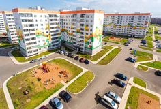 New appartment buildings and children`s playground at the reside Royalty Free Stock Photo