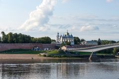 Veliky Novgorod, Russia - August 31, 2018: Panoramic view of the Kremlin, Cathedral of St Sophia , The belfry of St. Sophia stock images