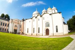Russian orthodox St. Sophia Cathedral in Veliky Novgorod, Russia. Veliky Novgorod, Russia - August 17, 2017: Russian orthodox St. Sophia Cathedral in Veliky Stock Photos
