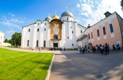 Tourists near the Russian orthodox St. Sophia Cathedral in Novgo Stock Photography