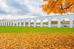 Veliky Novgorod, Russia, autumn architecture landscape. Yaroslav Courtyard arcade in cloudy autumn day. Veliky Novgorod, Russia, autumn landscape. Yaroslav Royalty Free Stock Image