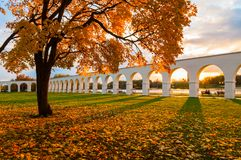 Veliky Novgorod, Russia - autumn landscape. Yaroslav Courtyard arcade in cloudy autumn day. Veliky Novgorod, Russia - autumm city view. Yaroslav Courtyard arcade Stock Photography