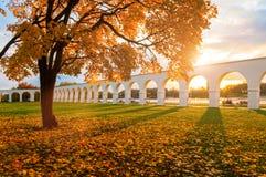 Veliky Novgorod, Russia - autumn landscape. Yaroslav Courtyard arcade in cloudy autumn day. Veliky Novgorod, Russia - autumn landscape. Yaroslav Courtyard arcade Stock Image