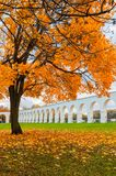 Veliky Novgorod, Russia - autumn view. Yaroslav Courtyard arcade in cloudy autumn day. Veliky Novgorod, Russia, autumn view. Yaroslav Courtyard arcade in cloudy Royalty Free Stock Images