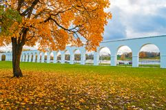Veliky Novgorod, Russia - autumn view. Yaroslav Courtyard arcade in cloudy autumn day. Veliky Novgorod, Russia - autumn city view. Yaroslav Courtyard arcade in Royalty Free Stock Image