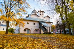 Veliky Novgorod, Russia. Church of the Myrrh-bearers at the Yaroslav courtyard Stock Photo