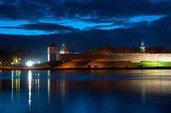 Veliky Novgorod, Russia. Colorful night panorama of Kremlin walls in the night time. In Veliky Novgorod, Russia Royalty Free Stock Photography