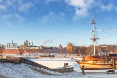 Veliky Novgorod, Russia, the Kremlin on the banks of the Volkhov River, ship restaurant royalty free stock photo