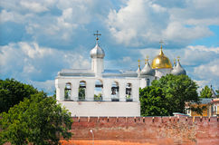 Veliky Novgorod. Russia. Kremlin with belfry and St. Sophia Cathedral Stock Photo