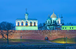 Veliky Novgorod. Russia. Kremlin with belfry and St. Sophia Cathedral Royalty Free Stock Photography