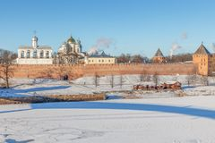 Veliky Novgorod, Russia, Kremlin near Volkhov river in winter da. Veliky Novgorod, Russia. Kremlin with Sophia Orthodox Cathedral and belfry near Volkhov river stock image