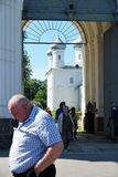 Veliky Novgorod, Russia, May 2018. Pilgrims leaving after the mass from the church of the monastery. royalty free stock images