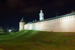 Veliky Novgorod, Russia. Metropolitan Tower and Chasozvonya Clock tower of Novgorod Kremlin in autumn night,. Veliky Novgorod, Russia Stock Photos