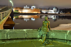 Veliky Novgorod, Russia, night illumination Royalty Free Stock Photo