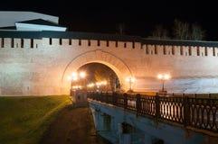 Veliky Novgorod, Russia. Night view of main entrance ro Veliky Novgorod Kremlin. And viaduct Stock Photos