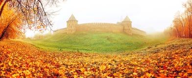 Free Veliky Novgorod, Russia, Panoramic Autumn View. Novgorod Kremlin Fortress In The Autumn Fog Royalty Free Stock Photography - 102898897