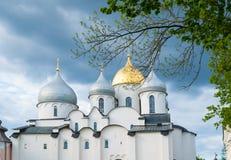 Saint Sophia Cathedral in Veliky Novgorod, Russia in the summer evening. Veliky Novgorod, Russia. Saint Sophia cathedral - the oldest Russian Orthodox church Royalty Free Stock Photo