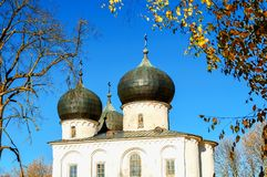 Veliky Novgorod, Russia. St Anthony monastery, Cathedral of the Nativity of our Lady, closeup of domes Stock Photography