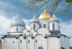 Saint Sophia Cathedral in Veliky Novgorod, Russia in the evening Stock Images