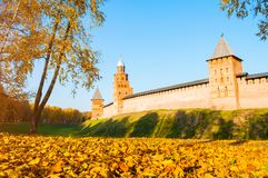 Veliky Novgorod, Russia. Towers of Veliky Novgorod Kremlin in sunny autumn evening. Veliky Novgorod, Russia. Towers of Veliky Novgorod Kremlin fortress in sunny royalty free stock image