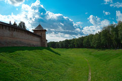 Veliky Novgorod. Wall and moat of the Kremlin Detinets. To the XIV century, the Kremlin called Detinets because fortress lived vigilantes prince, who called Royalty Free Stock Photos