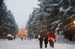 Veliky Ustyug. Hus av fadern Frost (Ded Moroz) - ryssmotsvarighet av Santa Claus. Arkivfoto
