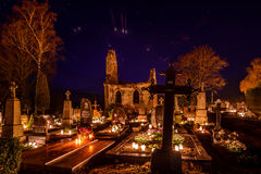 Veliuona cemetery all souls night Royalty Free Stock Photo