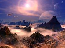 Velivoli futuristici sopra il pianeta dello straniero illustrazione vettoriale