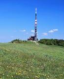 Velka Javorina hill in Bile Karpaty mountains. Highest hill of Bile Karpaty mountains called Velka Javorina on czech-slovak borders with flowering meadow, TV Royalty Free Stock Image