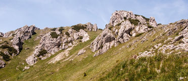 Velky Rozsute hill in Mala Fatra mountains in Slovakia. Rocky dolomitian Velky Rozsutec hill with rocks, mountain meadow and clear sky in summer Krivanska Mala stock photography