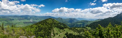 Velky Rozsutec rocky dolomitian hills with lower mountain ridge between Steny and Poludnovy grun hills in Mala Fatra mountains. In Slovakia royalty free stock photo