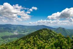 Velky Rozsutec rocky dolomitian hills with lower mountain ridge between Steny and Poludnovy grun hills in Mala Fatra mountains. In Slovakia stock photo