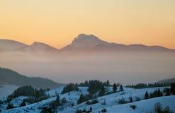 Velky Rozsutec at sundown in winter Royalty Free Stock Photos