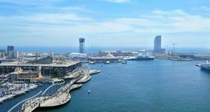 Vell e Maremagnum portuários, em Barcelona, Spain Fotografia de Stock