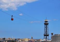 воздушное vell tramway barcelona гаван Стоковая Фотография