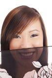 Velo asiático adolescente joven sonriente de la muchacha del retrato Imagenes de archivo