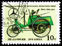Velo-Benz, 1894, 60th Anniversary of Mercedes-Benz serie, circa 1986. MOSCOW, RUSSIA - MARCH 23, 2019: Postage stamp printed in Korea shows Velo-Benz, 1894, 60th stock photos