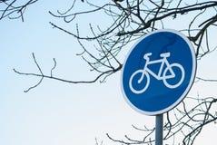 Velo bike road sign. Bicycle lane, metal road sign Royalty Free Stock Photos
