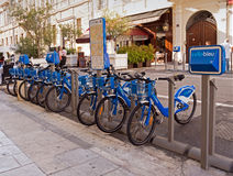 Velo bleu - Blue bicycles for rent, Nice, France Stock Photos
