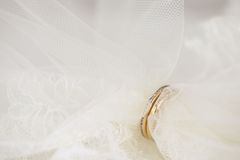 Velo de novia pasado a través de los anillos de oro Imágenes de archivo libres de regalías