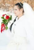 Velo dei fiori e del vestito da sposa Fotografia Stock