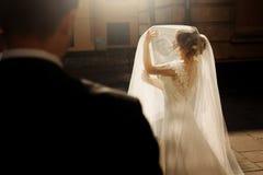 Velo elegante della tenuta della sposa e posare con il und dello sposo al sole fotografia stock
