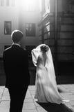 Velo elegante della tenuta della sposa e posare con il und dello sposo al sole fotografie stock libere da diritti