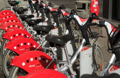 Velo. LYON, FRANCE, Juli 5, 2016: Velo'v is a bicycle sharing system in Grand Lyon, France, with 3000 bikes and 340 stations Royalty Free Stock Photo