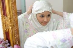 Velo musulmán de la alineada de las mujeres Foto de archivo libre de regalías