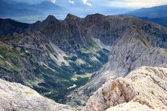 Velo polje, Velska dolina and Vodnikov hut, Julian Alps royalty free stock photos