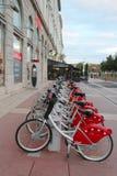 Velo v bicycle sharing station in Lyon, France. LYON, FRANCE - OCTOBER 10: Velo v bicycle sharing station in Lyon on October 10, 2013. Lyon is known for its Stock Image